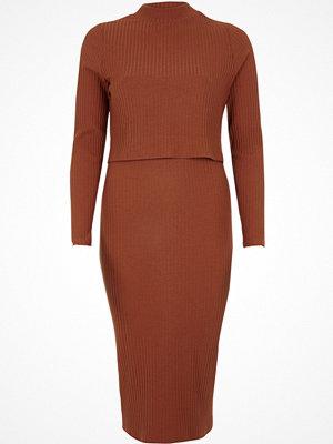 River Island River Island Womens Orange rib double layer bodycon midi dress