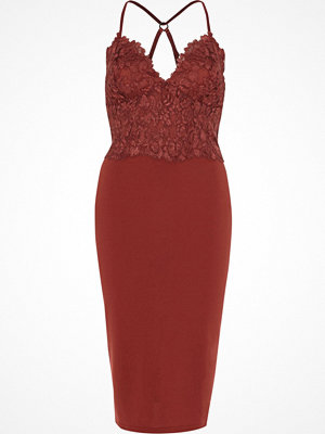 River Island Dark Pink lace cami bodycon midi dress