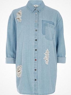 Skjortor - River Island River Island Womens Blue sequin embellished rip denim shirt