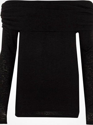 River Island Black ruched folded bardot neck jumper
