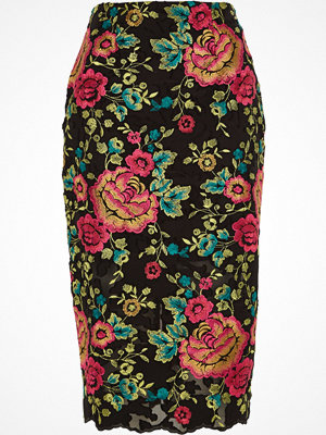 River Island Black floral embroidered pencil skirt