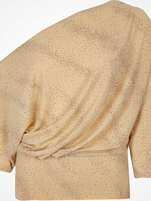 River Island River Island Womens Beige glitter one shoulder draped front top