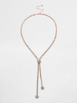 River Island halsband River Island Womens Rose Gold tone cup chain diamante Y necklace