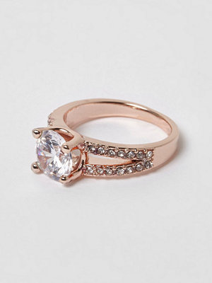 River Island Rose Gold tone split band diamante ring