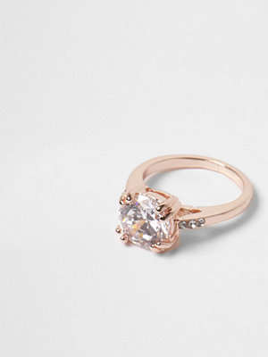River Island Rose Gold tone diamante crystal ring