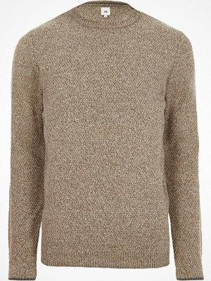 Tröjor & cardigans - River Island Stone textured knit slim fit crew neck jumper