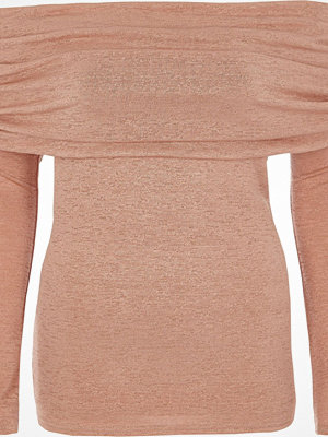 River Island River Island Womens Light Pink foldover bardot knitted top
