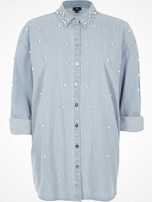 River Island River Island Womens Light Blue denim faux pearl embellished shirt
