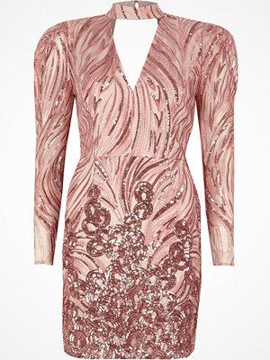River Island Pink sequin shoulder pad choker mini dress