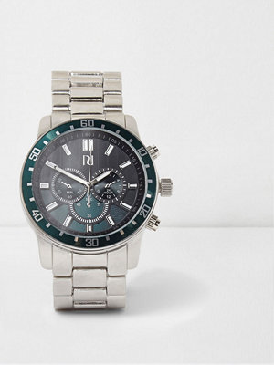 River Island River Island Mens Silver tone green bezel link strap watch
