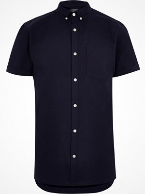 Skjortor - River Island Big and Tall Navy short sleeve Oxford shirt