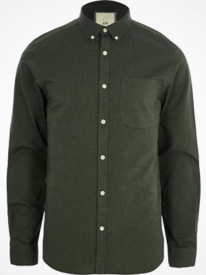 Skjortor - River Island Green long sleeve Oxford shirt