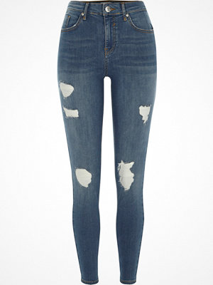 River Island Mid Blue Amelie ripped super skinny jeans