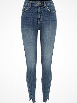 River Island Mid Blue Amelie frayed hem super skinny jeans