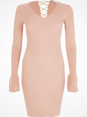 River Island River Island Womens Pink rib knit lace-up back bell sleeve dress