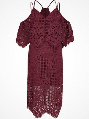 River Island River Island Womens Dark Pink broderie lace bodycon midi dress
