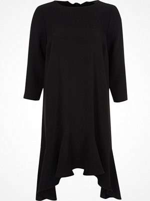 River Island Black frill peplum hem swing dress