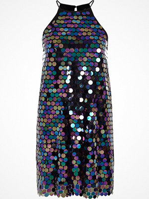 River Island Black disc sequin halter neck slip mini dress