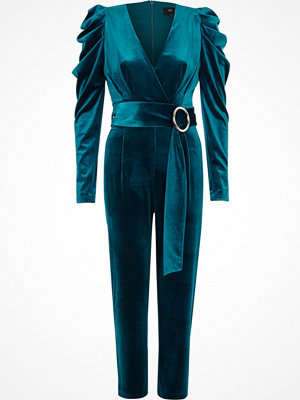River Island River Island Womens Turquoise blue puff shoulder velvet jumpsuit