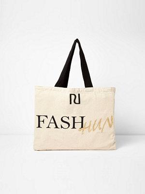 River Island väska med tryck Beige 'fash hun' print shopper tote bag
