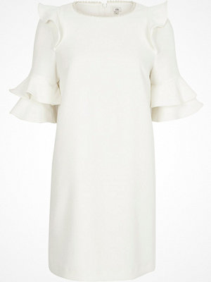 River Island White pearl neck frill sleeve swing dress