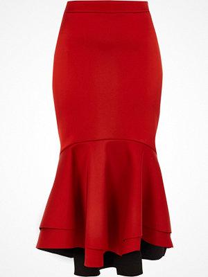 River Island Red tieRed fishtail hem satin pencil skirt