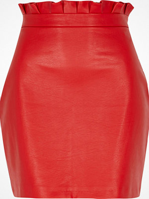 River Island Red paperbag waist faux leather mini skirt