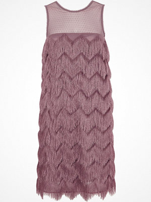 River Island Pink fringed sleeveless swing dress