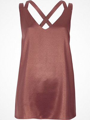 River Island River Island Womens Copper metallic double strap cross back vest