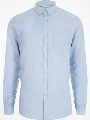 Skjortor - River Island River Island Mens Light Blue button-down casual Oxford shirt