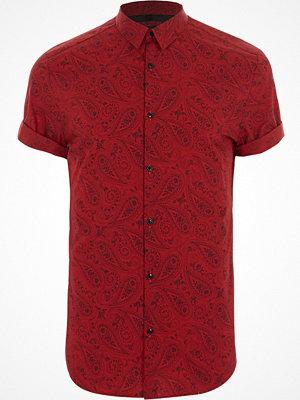 Skjortor - River Island River Island Mens Red paisley print slim fit short sleeve shirt