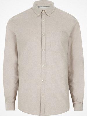 Skjortor - River Island River Island Mens Stone button-down casual Oxford shirt