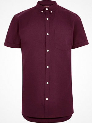 Skjortor - River Island Big and Tall burgundy short sleeve shirt
