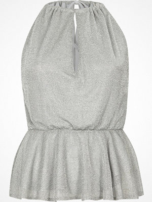 River Island Silver sleeveless frill hem chainmail top
