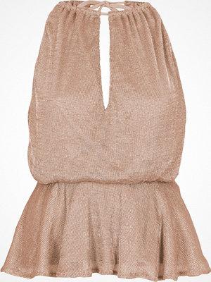 River Island Pink sleeveless frill hem chainmail top