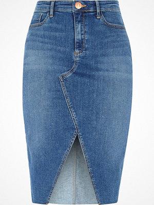 River Island Mid Blue front split denim pencil skirt