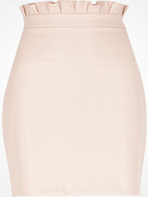 River Island Light Pink paperbag faux leather mini skirt