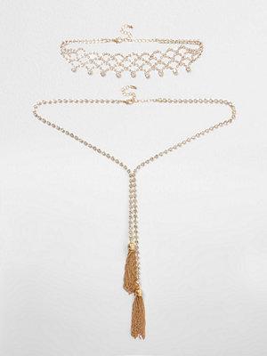 River Island halsband River Island Womens Gold tone diamante tassel necklace set