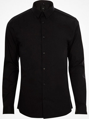Skjortor - River Island Black long sleeve muscle fit shirt