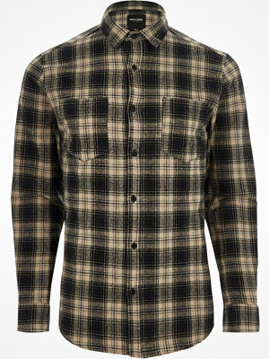 Skjortor - Only and Sons River Island Mens Green Only and Sons check print shirt