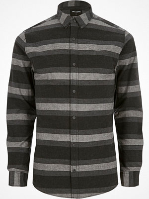 Skjortor - Only and Sons River Island Mens Grey Only and Sons stripe slim fit shirt