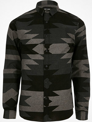 Skjortor - Only and Sons River Island Mens Grey Only and Sons aztec slim fit shirt