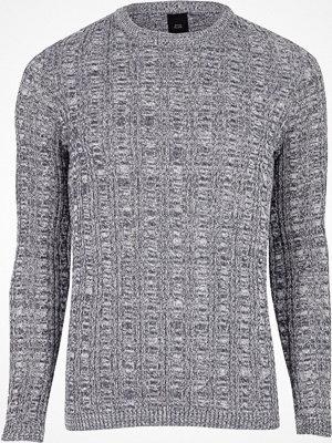 Tröjor & cardigans - River Island Blue muscle fit cable knit jumper