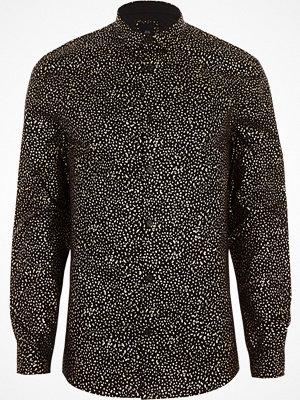 Skjortor - River Island River Island Mens Black metallic print muscle fit shirt