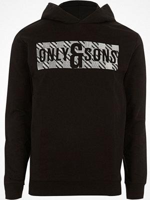 Street & luvtröjor - Only and Sons Black printed hoodie