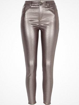 River Island Silver metallic Amelie super skinny jeans