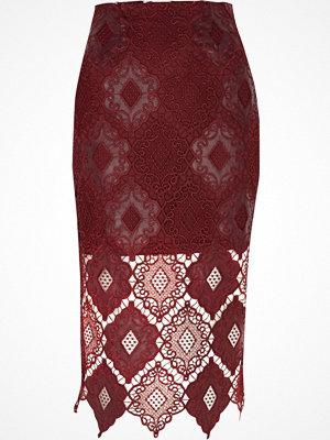 River Island Dark Red lace scallop pencil skirt