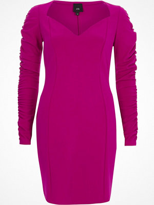 River Island Bright Purple ruched sleeve bodycon dress