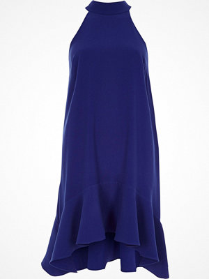 River Island Bright Blue high neck frill swing dress