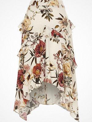 River Island Cream floral frill asymmetric hem midi skirt